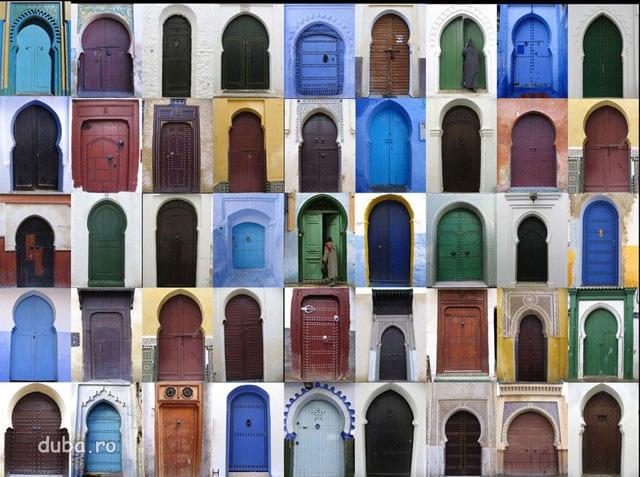porti de prin medina din Fes, Meknes, Chefchauen, si Asilah.