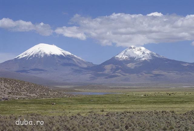 vulcanii Parinacota 6350m si Pomerape 6280m, langa granita Bolivia-Chile