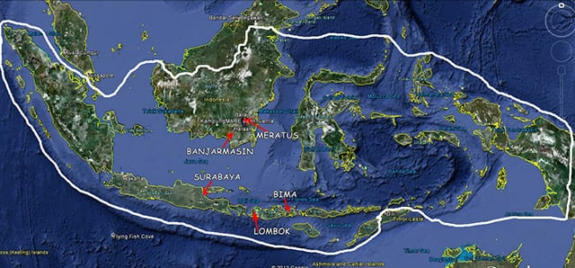Indonezia. Am pornit din Insula Lombok prin: Bima (I-la Sumbawa), Mandalika (I-la Lombok), Surabaya (I-la Java), Banjarmasin (I-la Borneo) si Muntii Meratus (I-la Borneo)