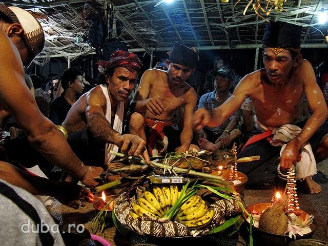 Balianii ofera sesaji (aduc ofrande) spiritelor stramosilor.