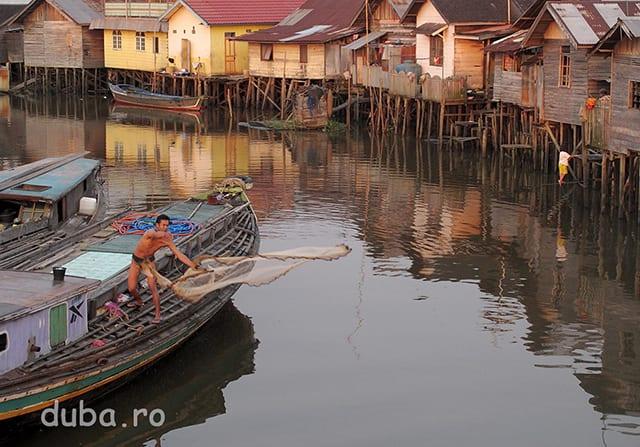 Un pescar arunca plasa, pe un brat al lui Barito. Deseori am vazut modul asta de pescuit in Kalimantanul de Sud. Se foloseste o plasa tivita cu cu plumbi (sau alte greutati).