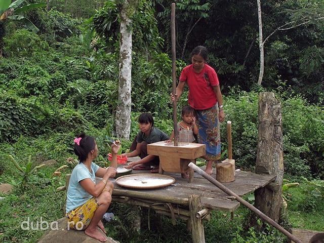 In pregatirile pentru Aruh, femeile fac faina din beras ketan (sticky rice) pentru prajuturi si dodol.