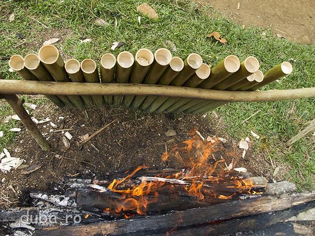 Lamang - beras ketan, fiert/inabusit in lapte de cocos, gatit in  tuburi de bambus la foc incet. Lamang e de nelipsit la un Aruh.