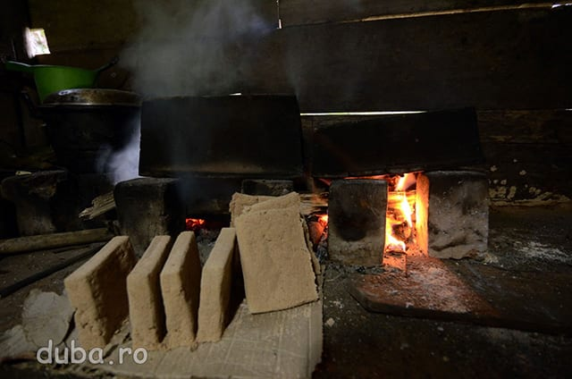 Prajituri de sago bakar (sago copt) proaspat scoase din cuptor, adica din caramida din fundal ce are niste gauri in care se indeasa faina de sago si se pune pe foc. Prajiturile din sago copt sunt cea mai greu de inghitit chestie pe care am mancat-o. Ti se usuca gura de la ele, parca ai manca un rumegus bine uscat, cu aroma de mucegai. Uneori la masa nu am avut altceva decat sago bakar.
