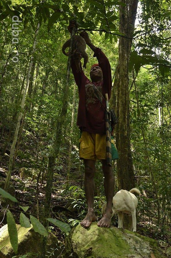 Buang agata in pom un cuscus ce tocmai a fost prins de caini.
